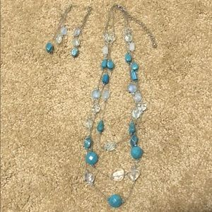 triple row necklace with earring